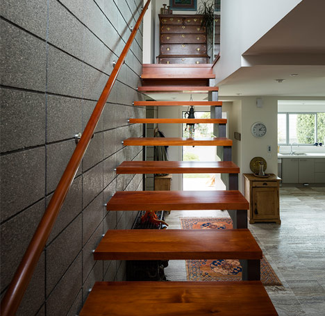 Custom built matai and steel staircase